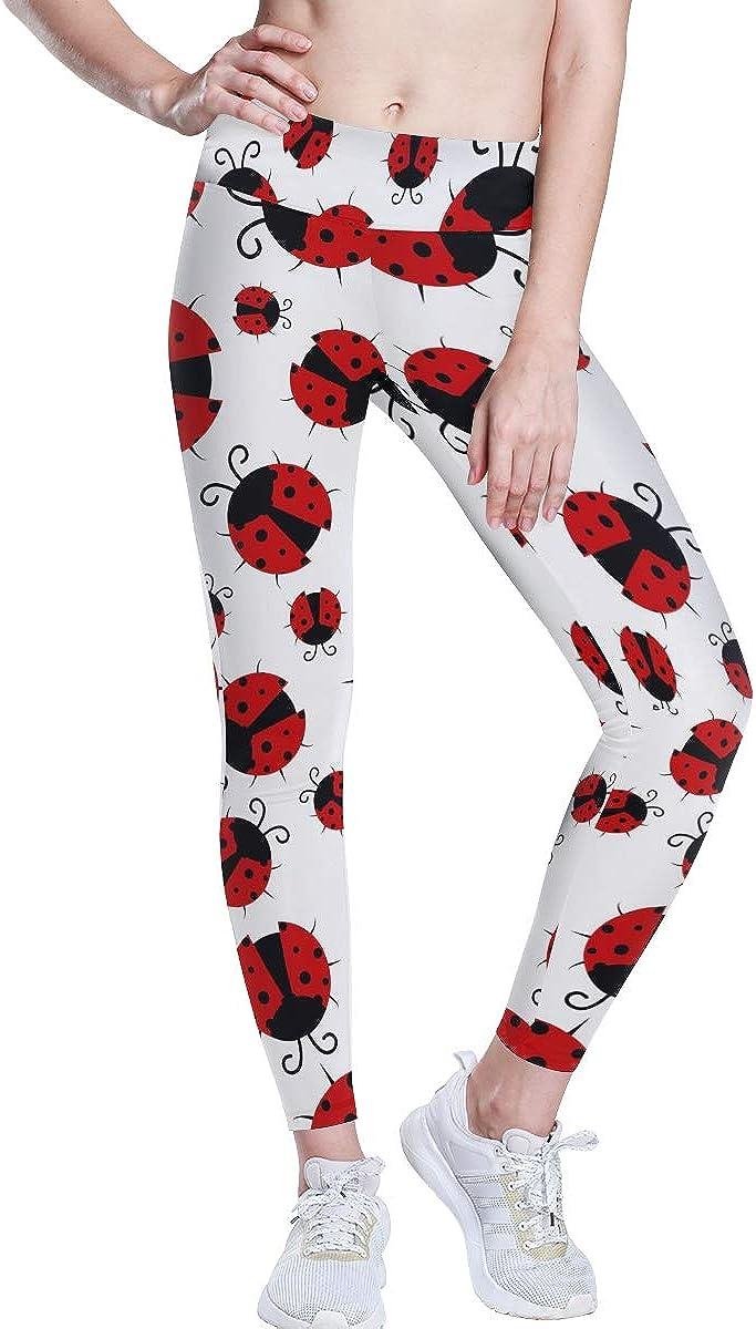 Ladybug Ladybird Pattern Workout Running Pants Yoga Leggings for Women Linomo Womens High Waist Yoga Pants