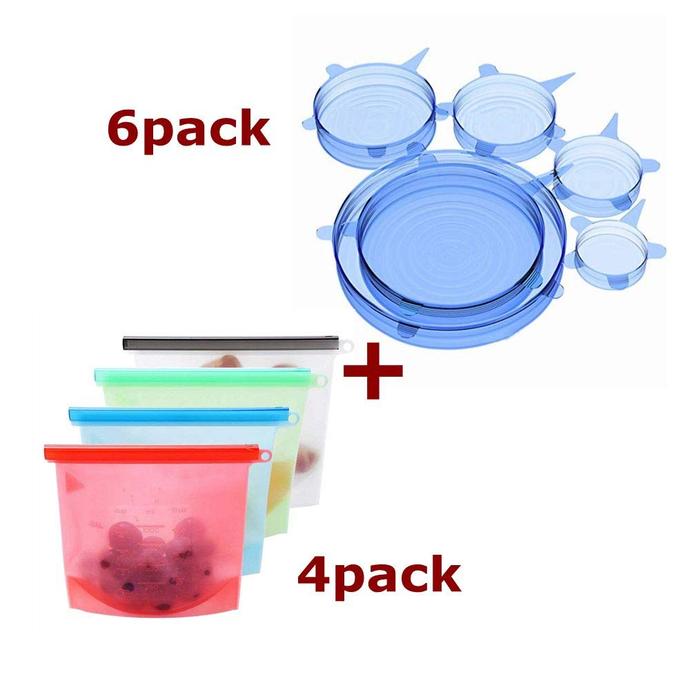YALFEN 4 Pack Silicone Food Bag and 6 Pack Silicone Lids FDA Reusable Durable Eco-Friendly Stretch Covers and Food Bags Keeping Food Fresh