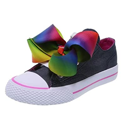 ccbeb16485b JoJo Siwa Girls Shoes Rainbow Bow Sneaker Low Casul Denim Blue (1)