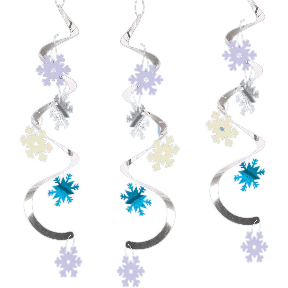 Creative Converting 324750 60-Count Dizzy Danglers Hanging Decorations Silver and Blue Snowflakes,