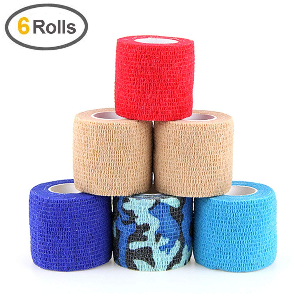 MUEUSS Self Adhesive Bandage Tape Vet Wrap Self Adherent Cohesive Bandages First Aid Wrap Waterproof Non-Woven Elastic Bandage for Animals Pet Sports Supply FDA Approved 6 Rolls, 2 inches x 5 Yards