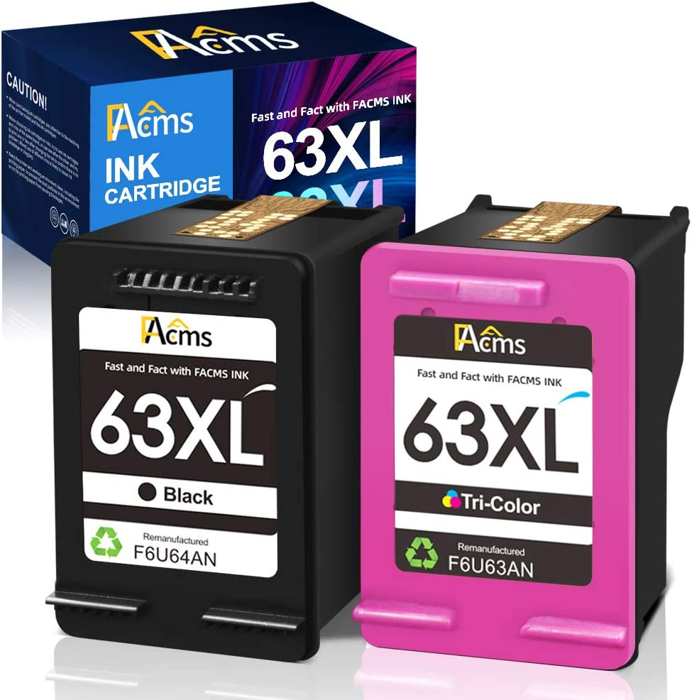 FAcms Remanufactured Ink Cartridge Replacement for HP 63 63XL 63XL for Envy 4520 4512 4513 4516 OfficeJet 3830 5255 5258 DeskJet 1112 1110 3630 3632 3634 2130 2132 (1 Black 1 Tri-Color)