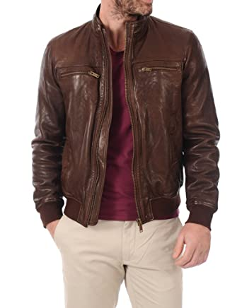 1957c2ae7 LEATHER FARM Men's Lambskin Leather Bomber Motercycle Jacket at ...