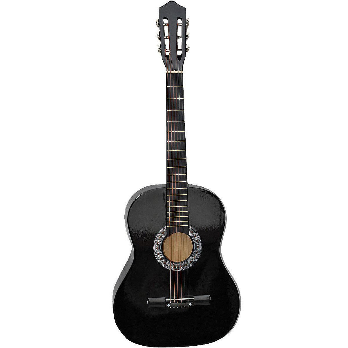 Super buy Acoustic Guitar W/Guitar Case Strap Tuner Pick For New Beginners Black Sup-9729