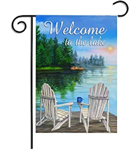 12 x 18 Inches Seasonal Garden Flag Beautiful Lake View Vacation Green Trees Turquoise Blue Welcome Double Sided Vibrant Printing on Both Sides Decorative House Yard Flag Garden Outdoor Decoration