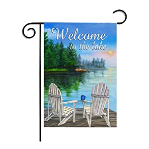 28 x 40 Inches Seasonal Garden Flag Beautiful Lake View Vacation Green Trees Turquoise Blue Welcome Double Sided Vibrant Printing on Both Sides Decorative House Yard Flag Garden Outdoor Decoration