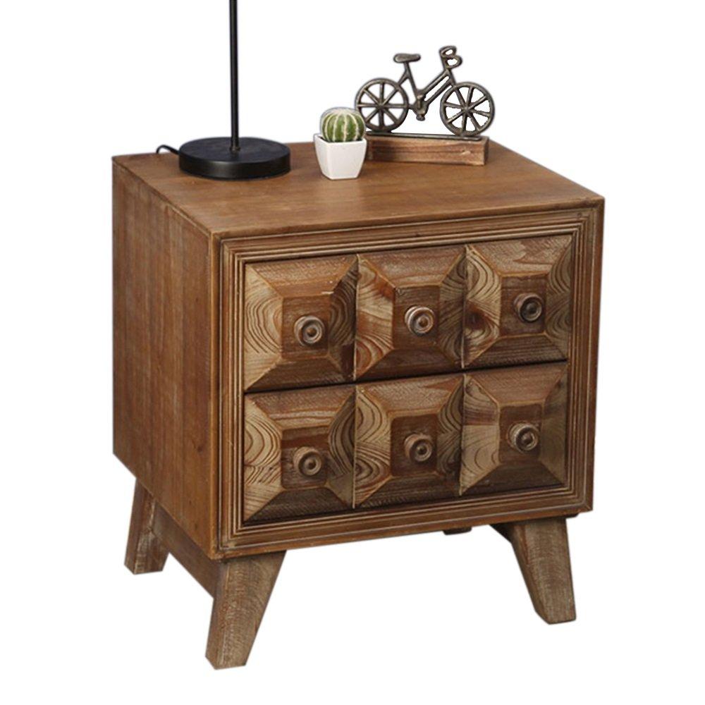 ナイトテーブル ナイトスタンドベッドサイドテーブルウッドキャビネットロッカーベッドサイドキャビネットストレージエンドテーブルキャビネットソリッドウッドコーヒーテーブルソファサイドテーブルナイトスタンドベッドルームテーブル家具(サイズ:50x40x55cm) B07FBLC9PR
