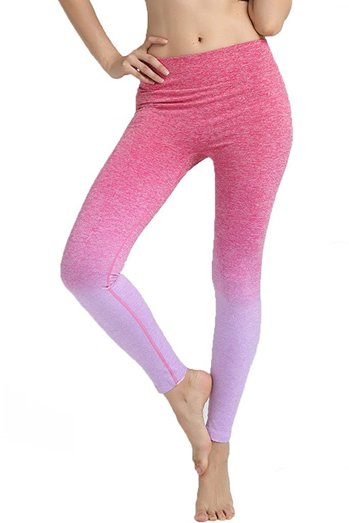 DODOING Jogginghose Leggings Hose Sportanzug Sporthose Training Fitnessanzug Yoga Pants Elastische Ombre Yoga Leggings Turnhalle Hosen Für Frauen B7003-DEAA