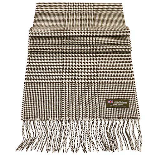 Rosemarie Collections 100% Cashmere Winter Scarf Made In Scotland (Chocolate Brown Houndstooth Mix)
