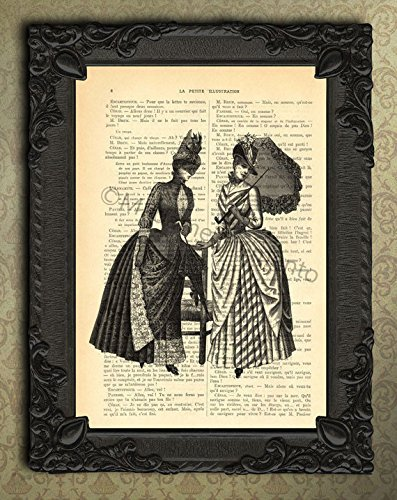 (Victorian ladies with hat and parasol wall decorations, antique illustration elegant woman art print )