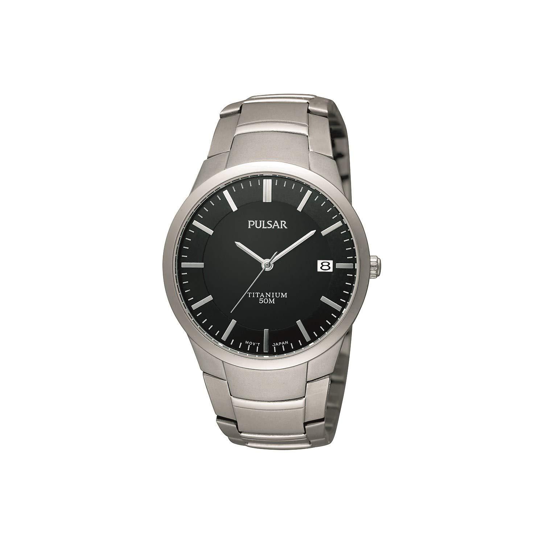 Pulsar Uhren Modern PS9013X1 - Reloj analógico de Cuarzo para Hombre, Correa de Titanio Color Plateado