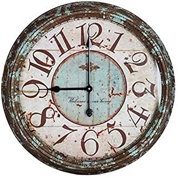 Amazon Com Large Rusty Turquoise Round Metal Wall Clock