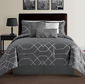 hampton 7piece modern geometric comforter set down alternative comforters comforter