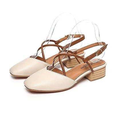 HUAHUA Koreanische Version der Dick mit Schuhe mit Einem Geschlitzten Lasche Maria Chen Schuhe Baotou Weiblichen Sandalen K65wBt