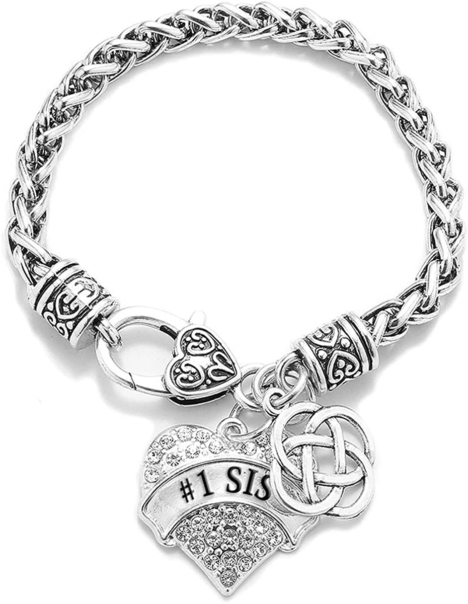 Silver Pave Heart Charm for Bracelet with Cubic Zirconia Jewelry Inspired Silver