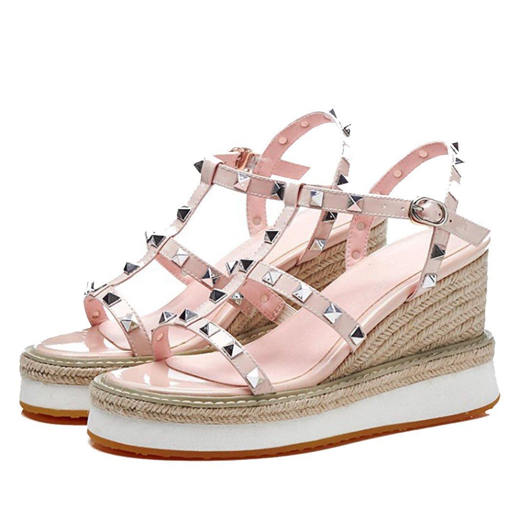 GAOLIXIA Sandalias de Cuero de Las Señoras de Las Mujeres Sandalias de Verano Romana Correa del Tobillo Tacones Altos Cuñas Remaches Sandalias de Tacón Alto Zapatos Casuales de Moda 40|Albaricoque