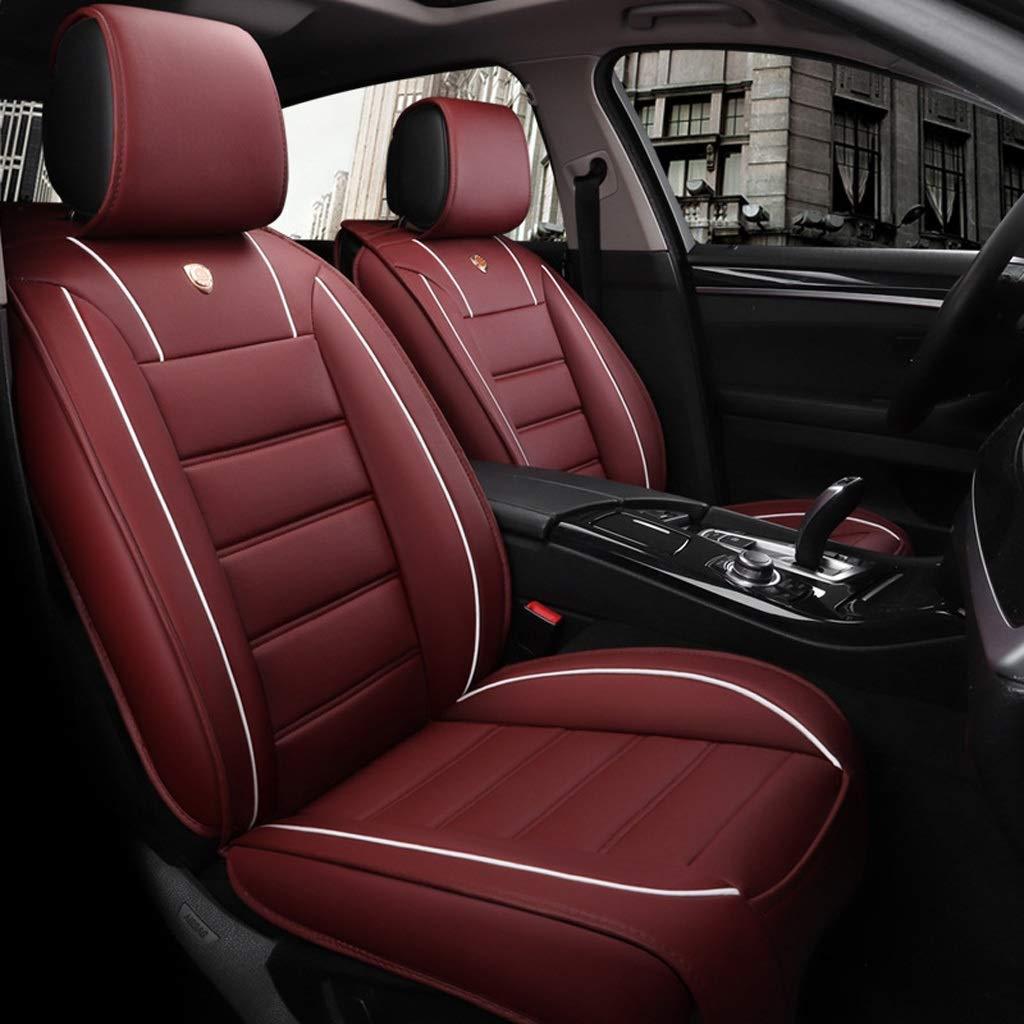 Lgan Autositzbezug kompatibel mit Airbag-Sitzprotektoren wasserdicht. Vier Jahreszeiten vorderer und hinterer 5-Sitzer-Komplettsatz Universal-Leder Farbe : Black White