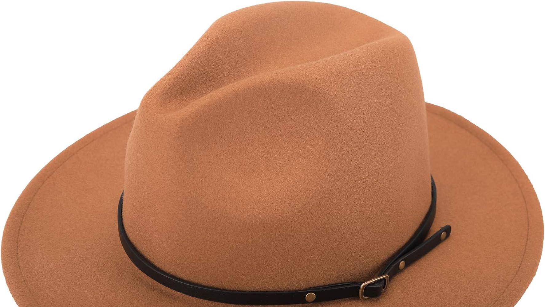 93cd0985b Womens Classic Wide Brim Floppy Panama Hat Belt Buckle Wool Fedora Hat