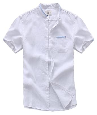 0243e09b chouyatou Men's Contrast Band Collar Button-Front Pure Linen Short Sleeve  Shirts (X-