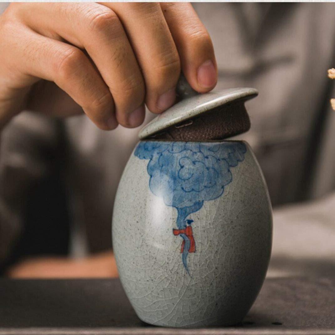 Retro Coarse Pottery Tea Caddy Hand Painted Kung Fu Tea Set Tea Cans Ceramic Sealed Jar Storage Bottle Home Decor by BERTERI (Image #2)