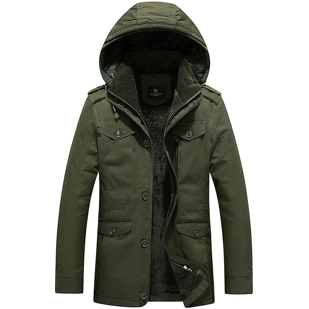YKARITIANNA Men's Jackets & Coats, Autumn Winter Down & Down Alternative Warm Cotton Cashmere Thicken Solid Faux Fur Jackets by YKARITIANNA Mens Tops