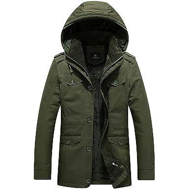 7202c6531 Amazon.com  Men s Single Breasted Autumn Winter Cotton Washing ...