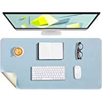 WALNEW Dual-Sided Desk Pad, 80x40cm Waterproof Large Desk Mat Mouse Pad Desk Cover Protector for Office/Home (Light Blue…