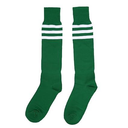 TOOGOO(R) Calcetines de tubo de deporte atletico de alta rodilla raya blanca en