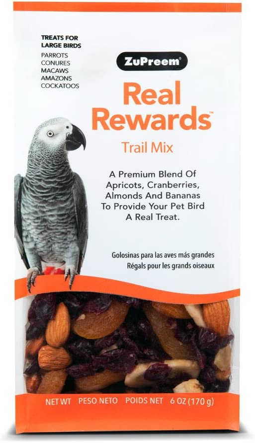 ZuPreem Trail Mix Real Rewards Treat Blend, 6 Ounces, for Parrots Conures Macaws Amazons and Cockatoos