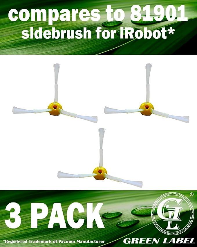 Lot de 3 brosses latérales pour les robots aspirateurs iRobot Roomba série 500, 600, 700 (a l'exceptions les modeles 645 et 655) (alternative à 81901) Produit Green Label authentique