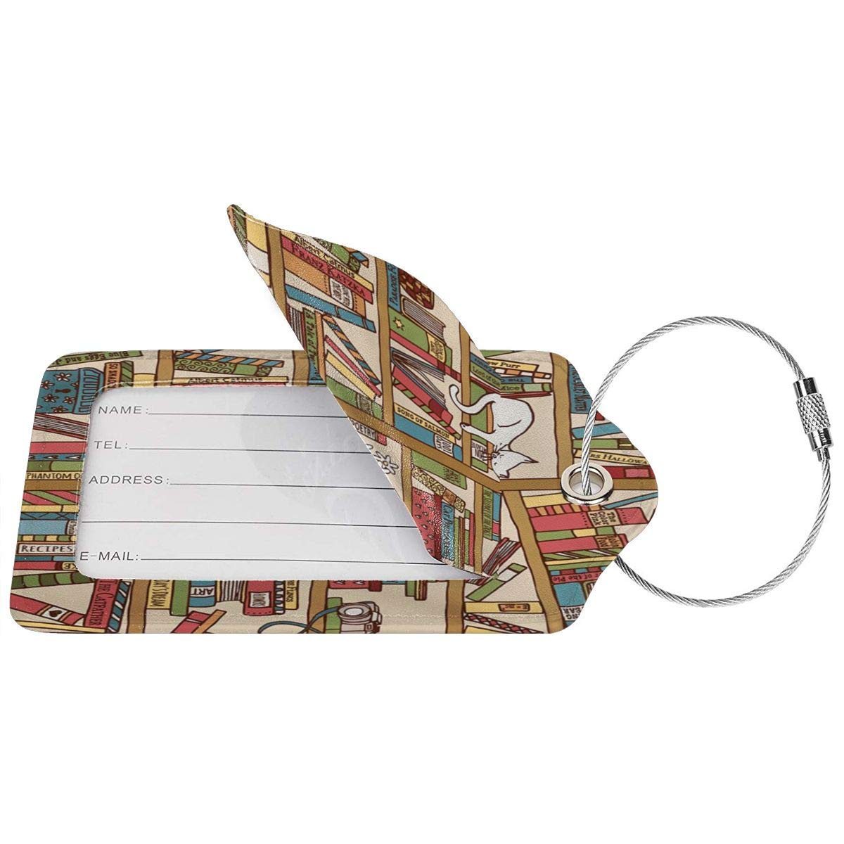 Nerd Book Lover Kitty Sleeping Over Bookshelf In Library Luggage Tag Label Travel Bag Label With Privacy Cover Luggage Tag Leather Personalized Suitcase Tag Travel Accessories