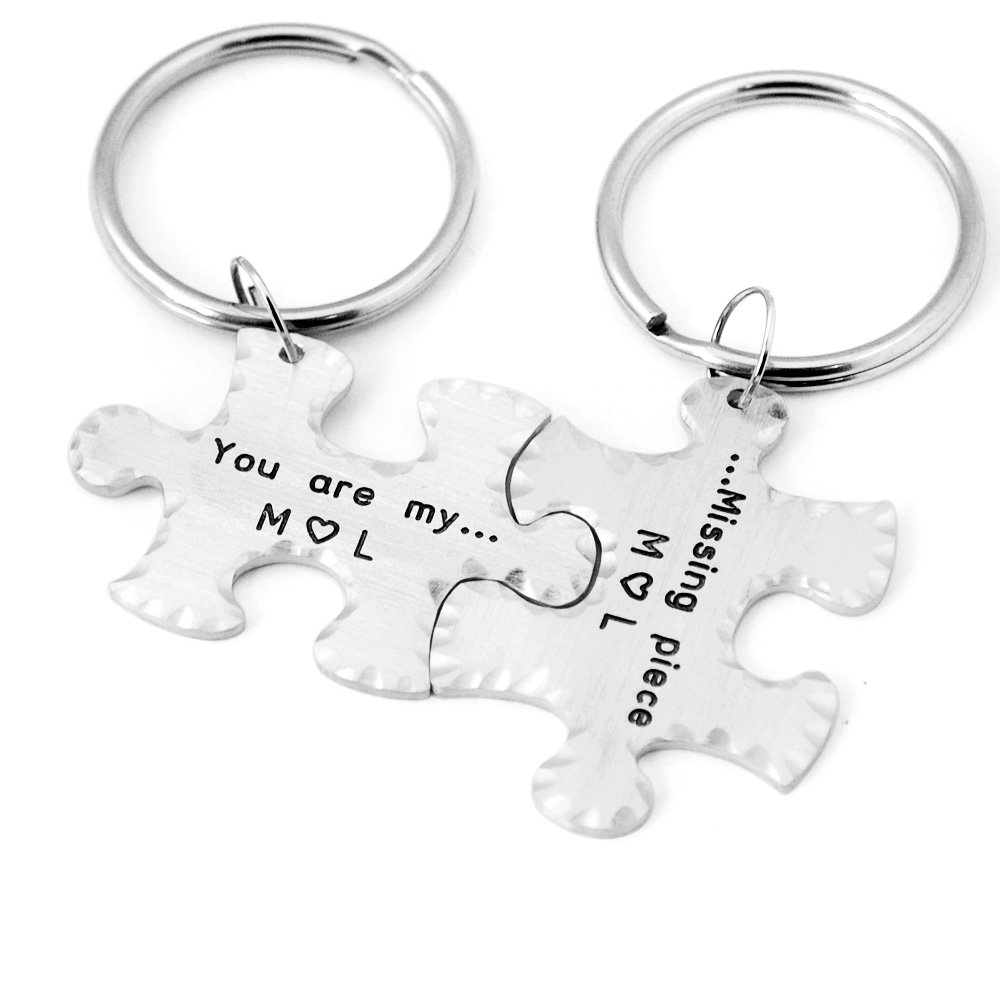 bdfabe4e4ddde Amazon.com   Hand Stamped Personalized Couples Puzzle Piece Keychains  Anniversary Keychains Wedding Gift Couples Keychain   Office Products