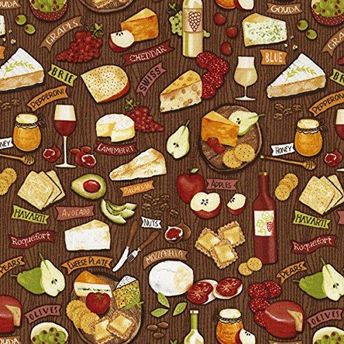 - Timeless Treasures Fabrics Food Novelty Fabric Brown Wine & Cheese