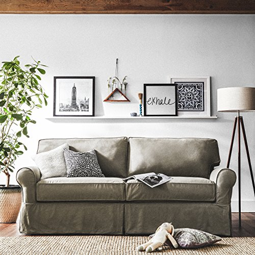 "Stone & Beam Carrigan Modern Sofa Couch with Slipcover, 88.5""W, Grey Taupe"