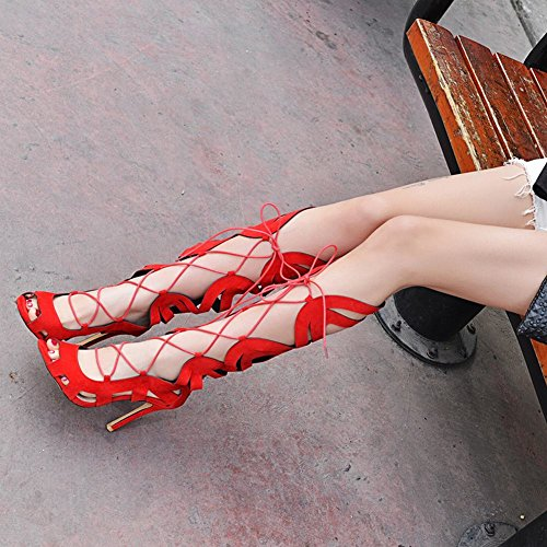 Charm Foot Womens Fashion Peep Toe Lace Up Knee High High Heel Summer Boots Red rvTUaxjj