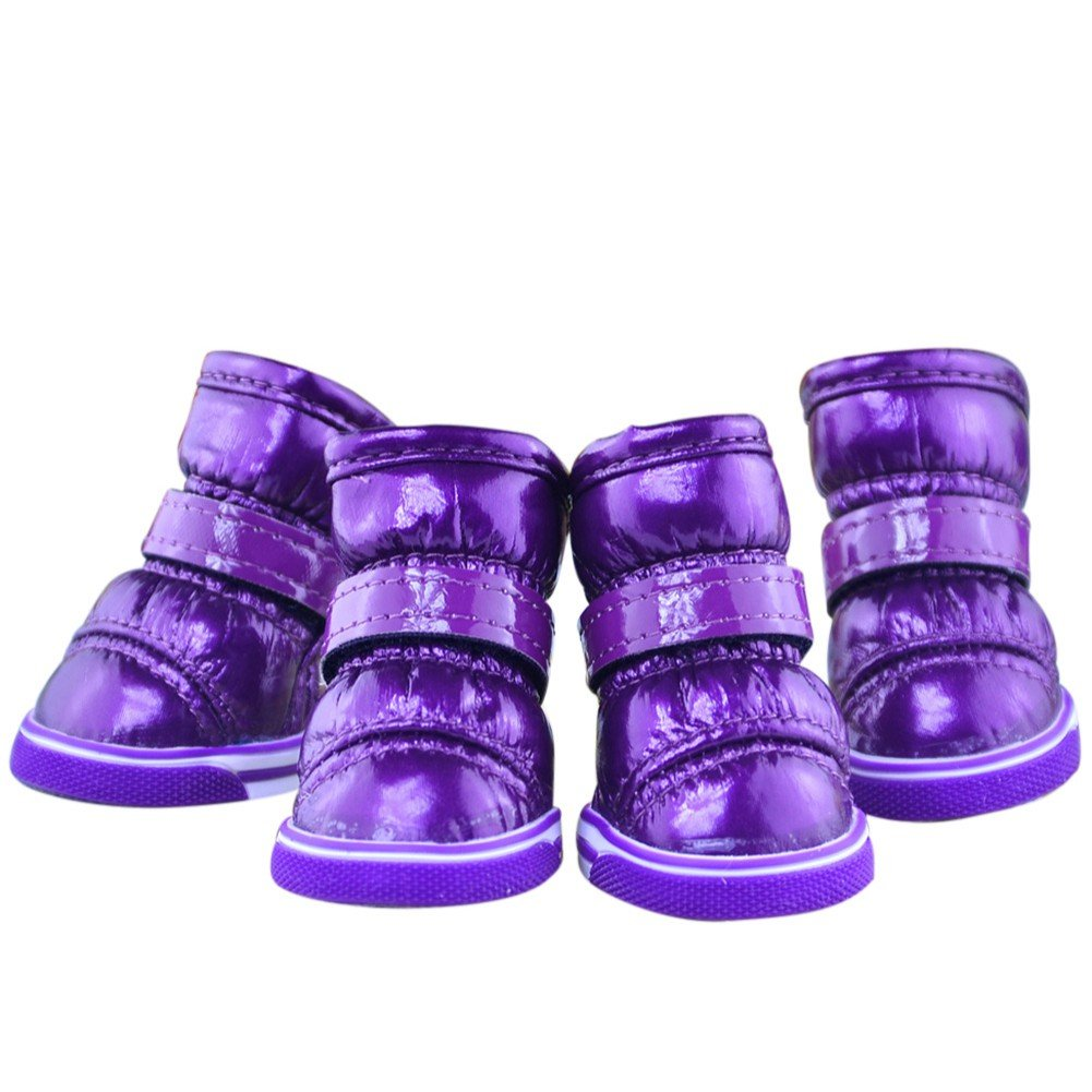 83eeb45c61df8 Balai Small Dog Waterproof Boots Puppy Winter Hook Loop Mirror leather  Booties Anti-slip Snow Warm Boots Shoes for Pet Dog Purple
