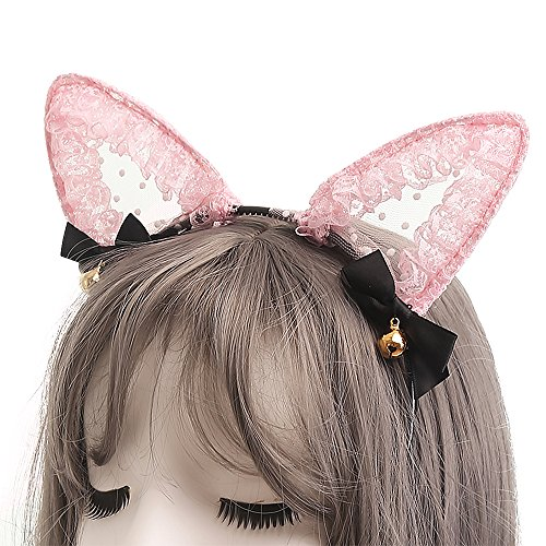 TOMORI Cute Lace Cat Ears Headband Sexy Cosplay Accessories Hair Hoops Lady Lovely Kitten Headdress (Pink)]()