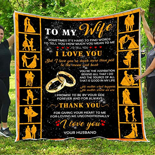 To My Gorgeous Wife I Love You Quilt Pattern Blanket Comforters with Reversible Cotton King Queen Full Twin Size Quilted Romantic Birthday Wedding Anniversary Gifts for Wife from Husband Kids