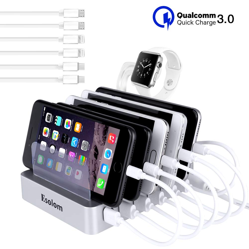 Fastest USB Charging Station, ESOLOM Universal 6-Port Charger Station Dock with QC 3.0 Quick Charge, 6 USB Cables&iWatch Holder, Smart Charger Station Dock&Organizer for Multiple Devices,Phones,Tablets