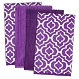 DII Microfiber Multi-Purpose Cleaning Towels Perfect for Kitchens, Dishes, Car, Dusting, Drying Rags, 16 x 19, Set of 4 - Eggplant Lattice