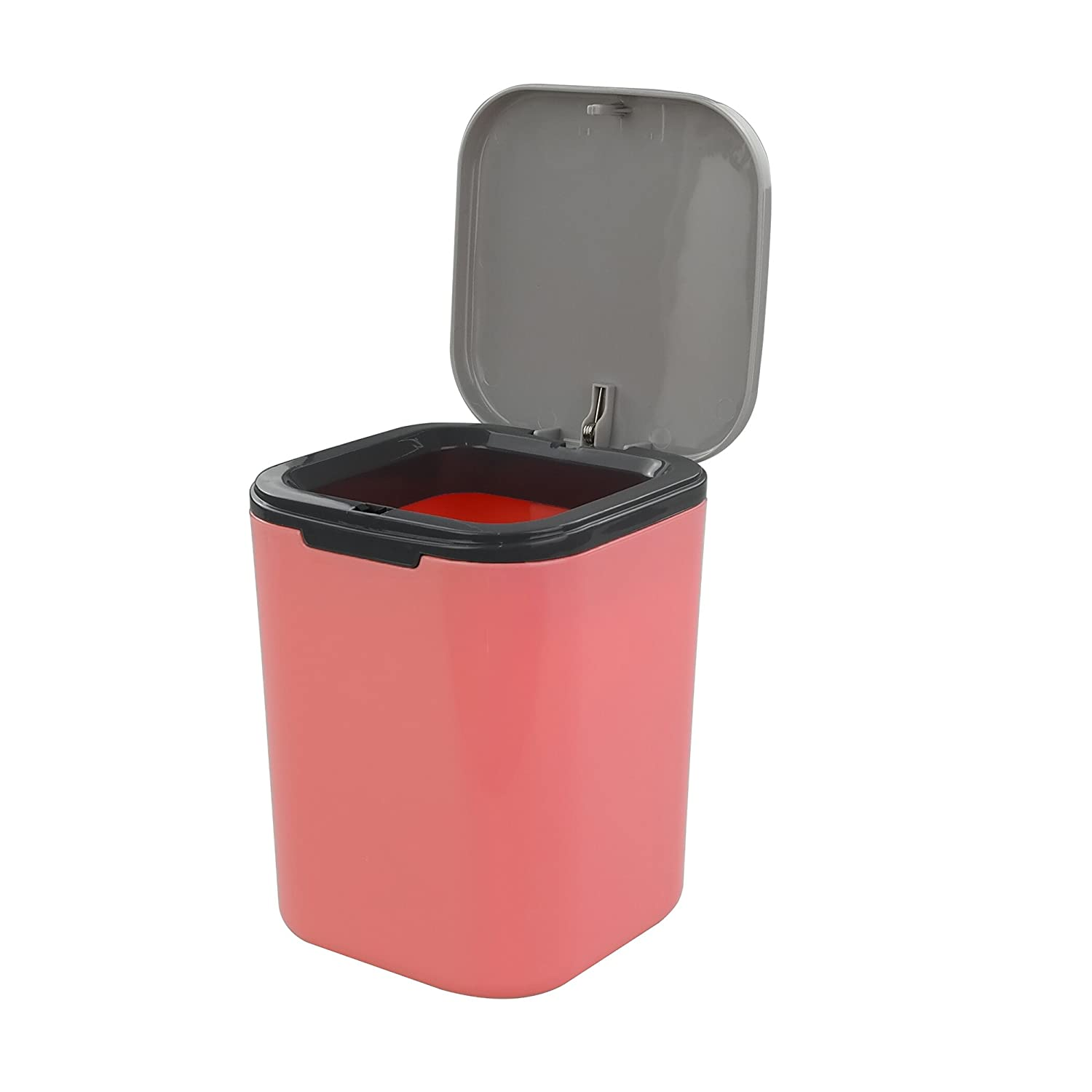 Hommp 1/2 Gallon Tiny Countertop Trash Can, Push-Button (Pink)