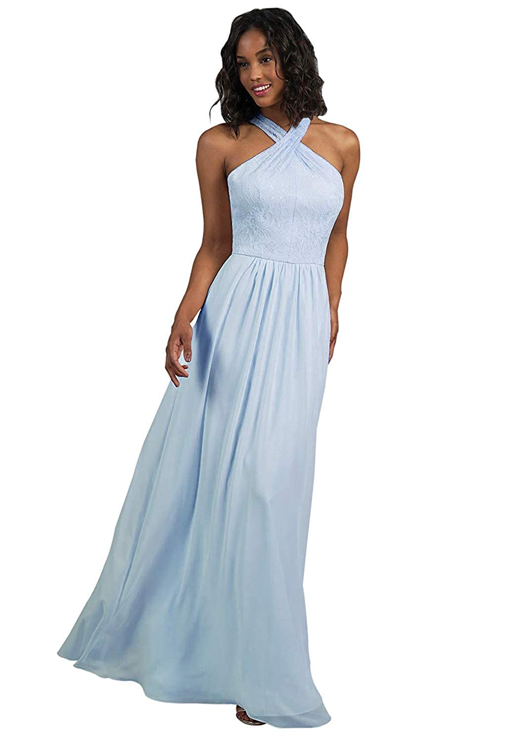 Bady bluee RTTUTED Lace Long Bridesmaid Dresses with CrissCross Neckline Prom Evening Gown