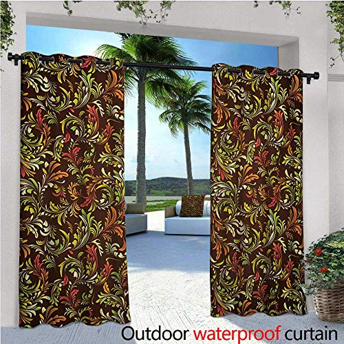 - Earth Tones Patio Curtains Antique Scroll Pattern with Royal Theme and Classical Details Curly Leaf Motifs Outdoor Curtain for Patio,Outdoor Patio Curtains W84 x L96 Multicolor