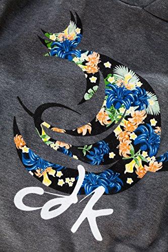 CHICKENDICK KITESURF Man Hoodie anthrazit Logo Floral