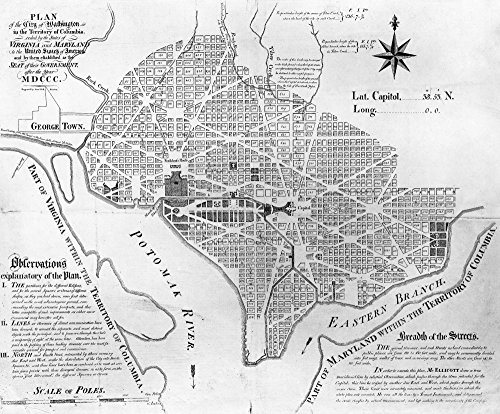 Washington DC 1854 Nandrew EllicotS Engraved Map Of 1792 Based On Pierre Charles LEnfantS Manuscript Plan With Additions By Architect And Engineer Robert Mills 1854 Poster Print by (18 x 24)