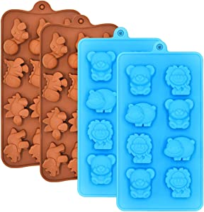 Chocolate Molds Candy Jelly Mold Silicone - WARM TIME Hard Candy Gummy Molds and Silicone Ice Cube Tray Non-Stick Including Dinosaurs, Bear, Lion and Hippo, FDA Approved Food Grade Silicone Molds