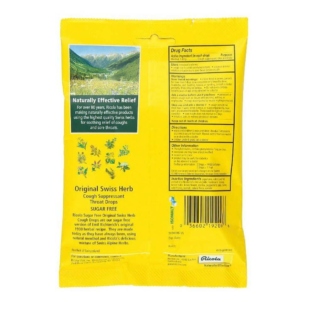 Ricola Sugar Free Drops - Swiss Herb (Case of 24) by Ricola