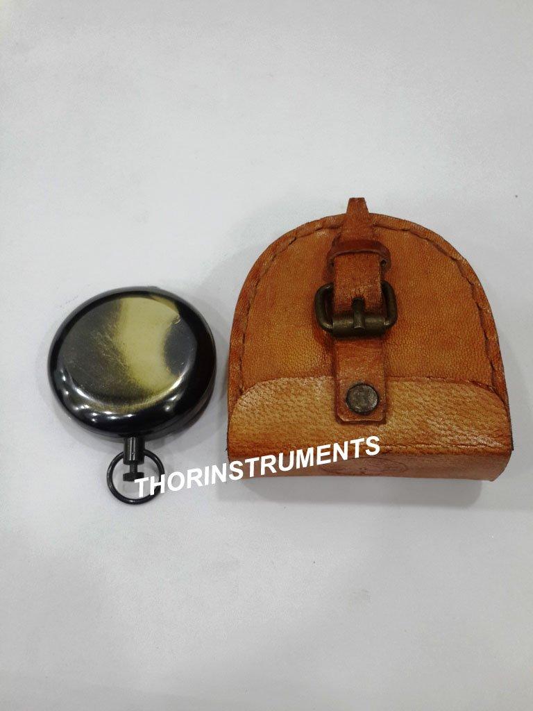 thorinstruments (withデバイス) Nauticalハンドメイド2つtonプッシュボタンコンパスブラウンレザーケース装飾 B07FBY92PB