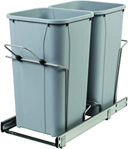 Knape & Vogt RS-BSC12-2-27-P 18.75 in. x 11 in. x 22 in. in Cabinet Soft-Close Pull Out Trash Can, Platinum