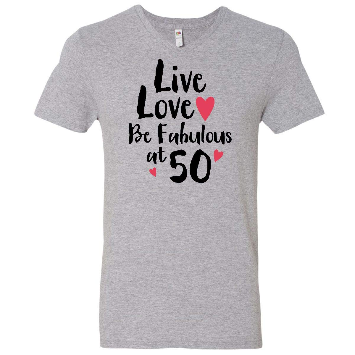 Amazon com: inktastic - Live Love Fabulous 50 Men's V-Neck T
